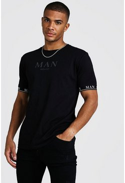 Black MAN Roman T-Shirt With Tape Cuff