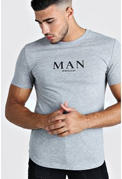 Herr Grey Muscle Fit MAN Roman T-Shirt With Curved Hem