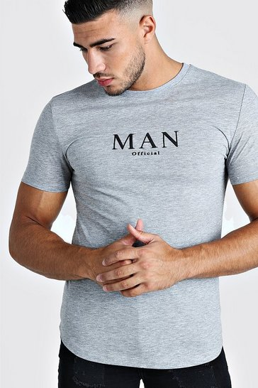 Mens Grey Muscle Fit MAN Roman T-Shirt With Curved Hem