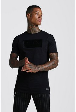 Black Muscle Fit MAN Roman Flock T-Shirt