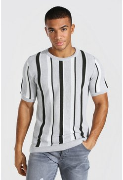 Mens Grey Regualr Fit Vertical Stripe Knitted T-Shirt
