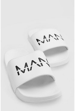 Mens White MAN Dash Sliders