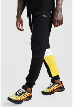 Mens Black Man Signature Skinny Fit Colour Block Jogger