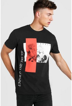 "Camiseta extragrande con estampado ""Unfold The Truth"", Negro, Hombre"