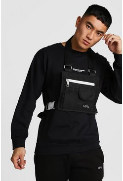 Mens Black Flat Overall Chest Rig