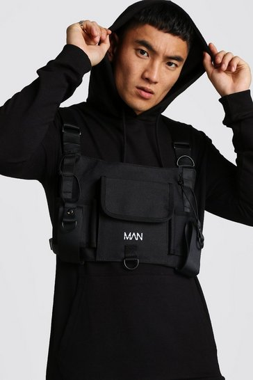 Mens Black Oversized Rubber Print Chest Rig