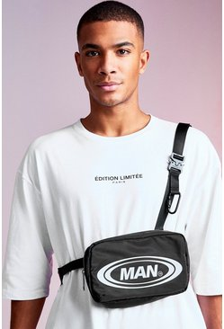Black MAN Design Crossbody With Metal Buckles