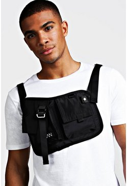 Mens Black Double Pocket Sling Chest Rig