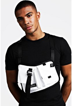 Mens White Double Pocket Sling Chest Rig