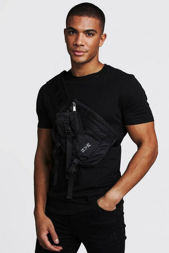 Mens Black Multi Pocket Cross Body Chest Rig