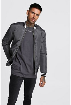 Charcoal Padded Bomber With Contrast Rib