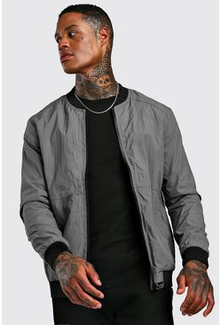 Mens Charcoal Tech Style Bomber Jacket