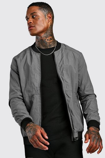 Charcoal Tech Style Bomber Jacket