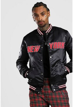 Mens Black Padded Satin Varsity Bomber