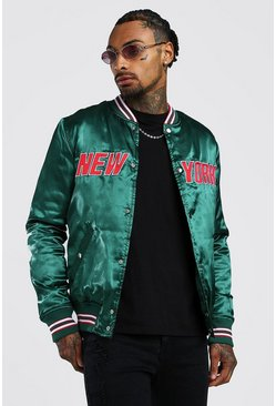 Mens Emerald Padded Satin Varsity Bomber