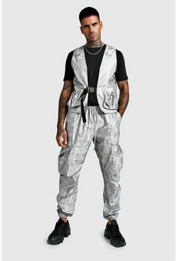 Mens Grey Reflective Bungee Pocket Cargo & Utility Vest