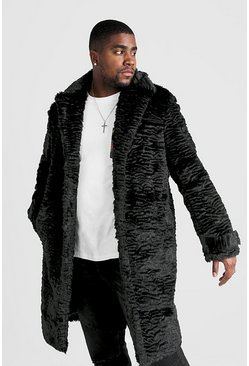 BIG & TALL luxuriöser Fake-Fur-Mantel, Schwarz, HERREN