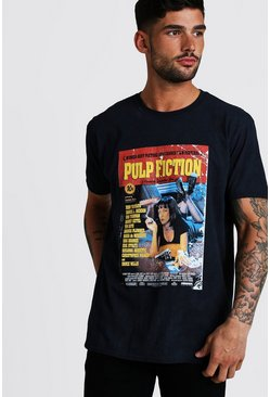 Mens Black Pulp Fiction Oversized Washed License Tee