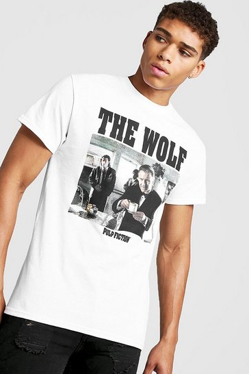 Mens White Pulp Fiction The Wolf License T-Shirt