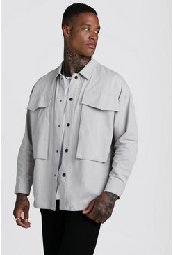 Mens Stone Cotton Twill Popper Detail Overshirt