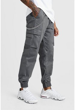 Grey Cargo Pocket Chain Detail Trouser