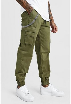 Khaki Cargo Pocket Chain Detail Trouser