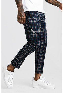 Green Tartan Check Cropped Jogger With Chain Detail