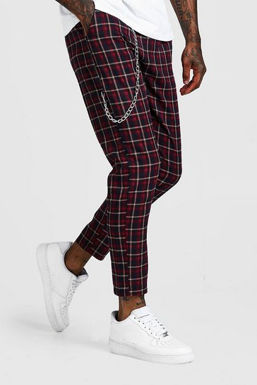 Navy Tartan Check Cropped Jogger With Chain Detail