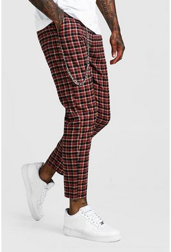 Mens Red Tartan Check Cropped Jogger With Chain Detail