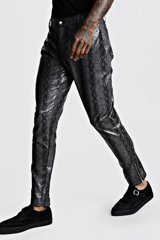 Charcoal Snake PU Skinny Fit Trousers
