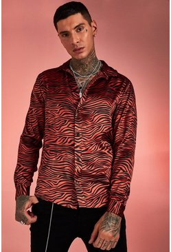 Orange Long Sleeve Satin Tiger Print Shirt