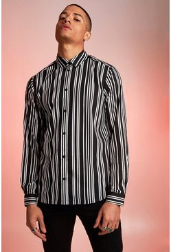 Herr Black Long Sleeve Monochrome Stripe Shirt