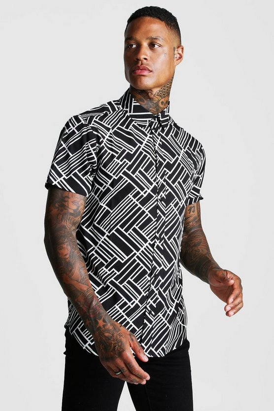 Black Abstract Collared Short Sleeve Shirt