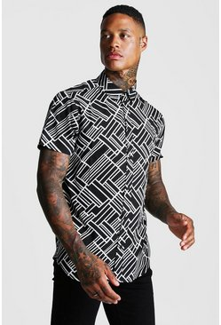 Herr Black Abstract Collared Short Sleeve Shirt