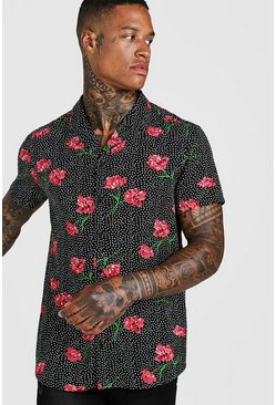 Herr Black Short Sleeve Polka Dot Floral Shirt