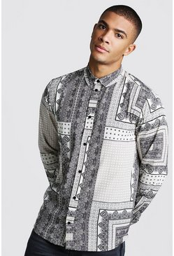 Mens Ecru Long Sleeve Tile Print Shirt
