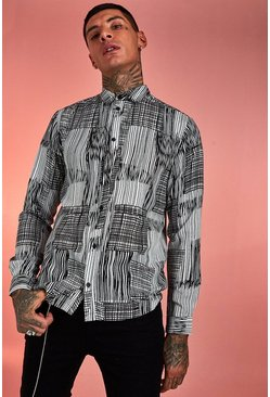 Herr White Abstract Patchwork Long Sleeve Shirt
