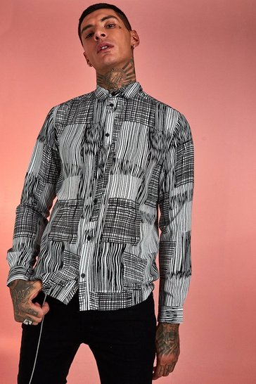 Mens White Abstract Patchwork Long Sleeve Shirt