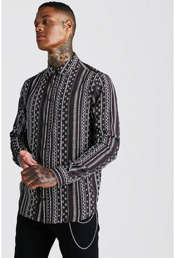 Charcoal Long Sleeve Stripe Printed Dobby Shirt