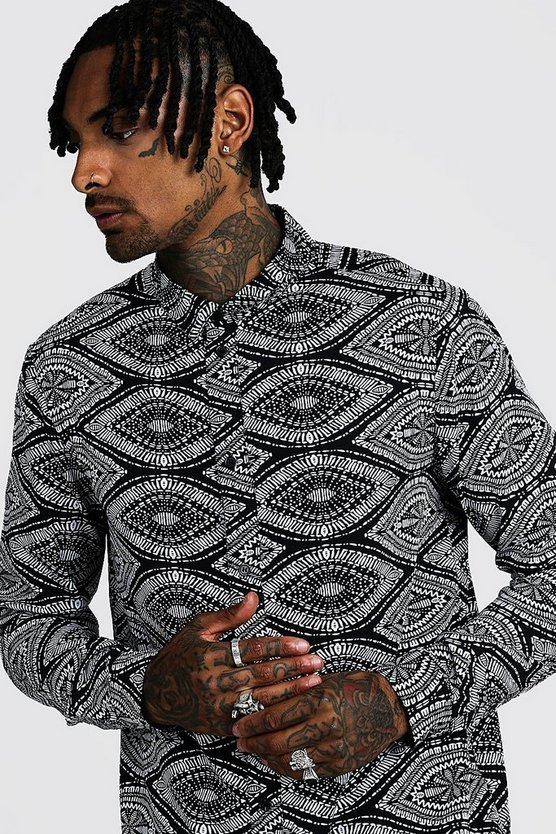 Black Ikat Design Long Sleeve Printed Shirt