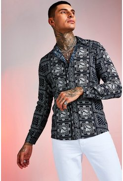 Mens Navy Long Sleeve Tile Paisley Print Shirt