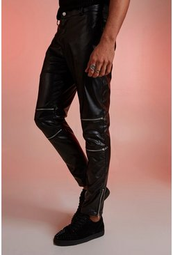 Herr Black PU Biker Zip Detail Trousers