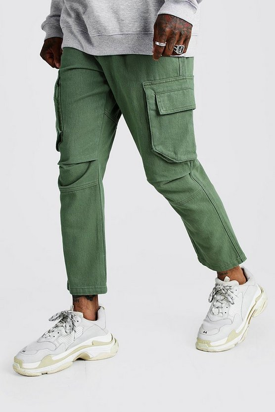 Mens Khaki Multi Pocket Twill Cargo Trouser