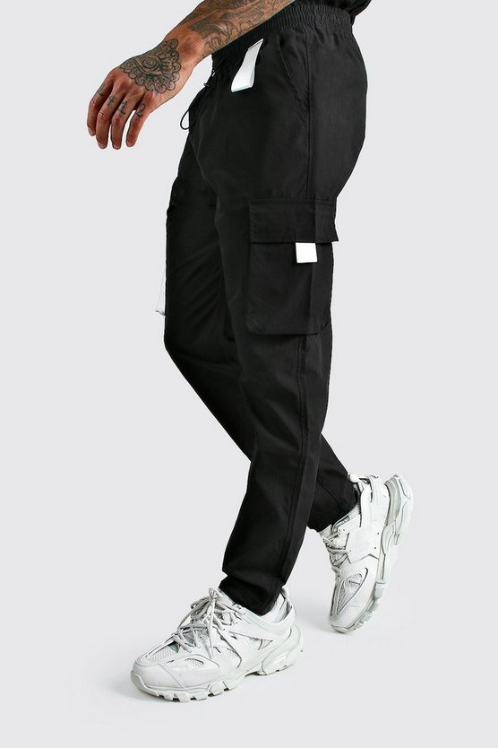Black Man Cargo Vinyl Pocket Detail Pants