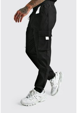 Black MAN Cargo Vinyl Pocket Detail Trousers