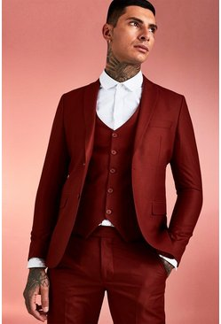 Rust Plain Skinny Fit Suit Jacket