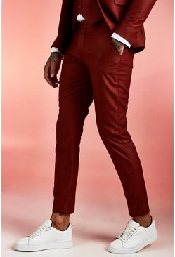 Rust Plain Skinny Fit Suit Trousers
