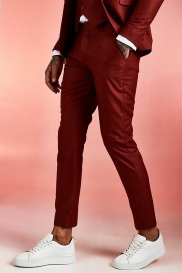 Mens Rust Plain Skinny Fit Suit Trousers
