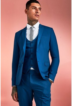 Herr Blue Plain Skinny Fit Suit Jacket