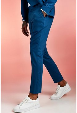 Blue Plain Skinny Fit Suit Trouser